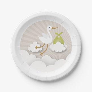 Cigogne + Nuages avec le baby shower vert de Assiettes En Papier