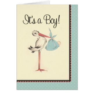 Cigogne vintage c'est un faire-part de naissance carte de vœux