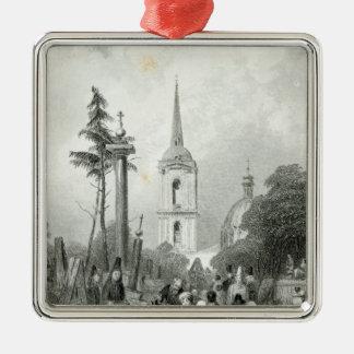 Cimetière de l'église de Smolensko Ornement Carré Argenté
