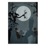 Cimetière et pleine lune pour Halloween Modèles De Cartes De Visite