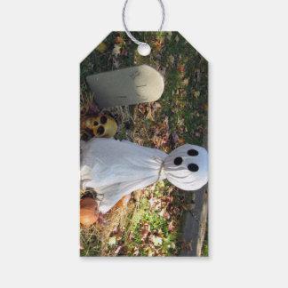 Cimetière, fantôme et citrouille étiquettes-cadeau