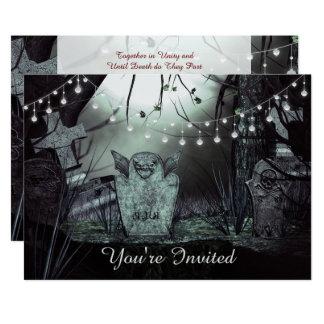 Cimetière gothique, lumières enchanteresses carton d'invitation  12,7 cm x 17,78 cm