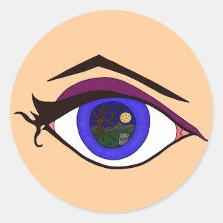 Cimetière la nuit dans l'oeil sticker rond