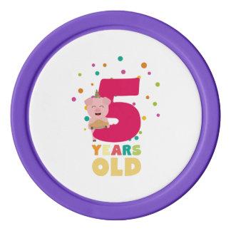 Cinq années de la cinquième fête d'anniversaire rouleau de jetons de poker