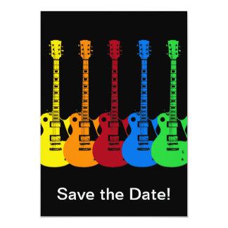 Cinq guitares électriques carton d'invitation  12,7 cm x 17,78 cm