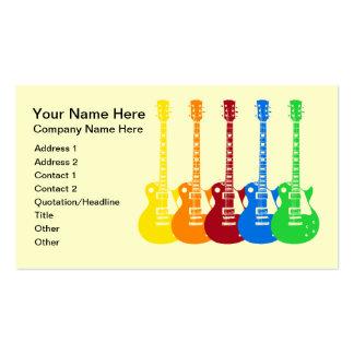 Cinq guitares électriques colorées carte de visite standard