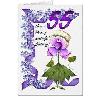 cinquante-cinquième Carte d'anniversaire avec des