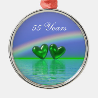 cinquante-cinquième Coeurs d'émeraude Ornement Rond Argenté