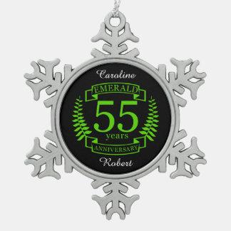cinquante-cinquième ÉMERAUDE d'ANNIVERSAIRE de Ornement Flocon De Neige Pewter