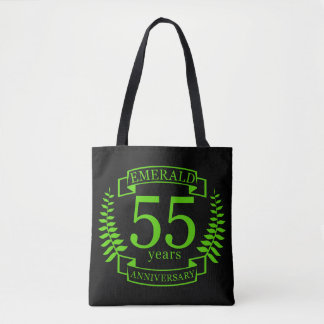 cinquante-cinquième ÉMERAUDE d'ANNIVERSAIRE de Tote Bag