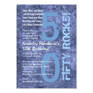 Cinquante roches ! cinquantième Grunge moderne de Carton D'invitation 12,7 Cm X 17,78 Cm