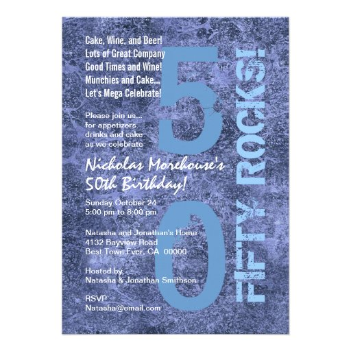Cinquante roches ! cinquantième Grunge moderne de  Cartons D'invitation