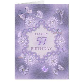 cinquante-septième carte d'anniversaire avec des