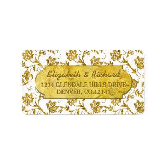cinquantième Adresse de retour de Flora d'or Étiquette D'adresse