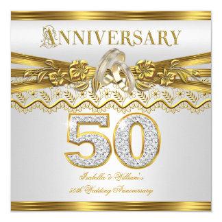 cinquantième Anneaux d'or de fête d'anniversaire Carton D'invitation 13,33 Cm