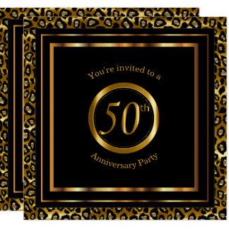 cinquantième Années d'or avec le motif de léopard Carton D'invitation 13,33 Cm