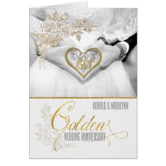 cinquantième Années d'or d'anniversaire de mariage Carte De Vœux