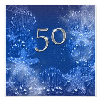 cinquantième anniversaire argenté bleu tropical carton d'invitation  13,33 cm