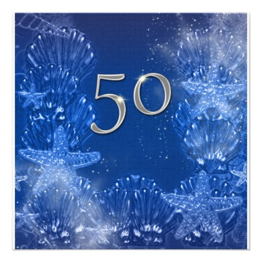 cinquantième anniversaire argenté bleu tropical invitation personnalisée