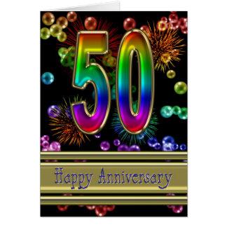 cinquantième anniversaire avec des feux d'artifice carte de vœux