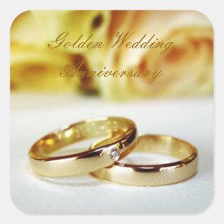 cinquantième Anniversaire de mariage d'or Autocollant Carré
