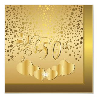 cinquantième Anniversaire de mariage d'or Carton D'invitation 13,33 Cm