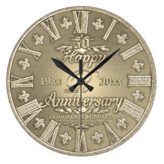 cinquantième Anniversaire de mariage d'or Grande Horloge Ronde