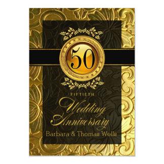 Cinquantième anniversaire de relief par charme carton d'invitation  12,7 cm x 17,78 cm