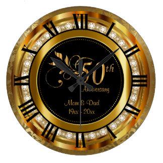 Cinquantième anniversaire d'or élégant de diamant grande horloge ronde
