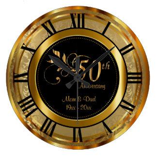 Cinquantième anniversaire d'or élégant grande horloge ronde