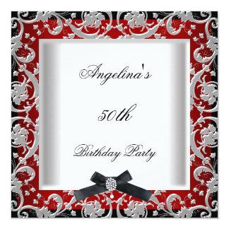 cinquantième Arc blanc noir rouge de bijou de fête Carton D'invitation 13,33 Cm