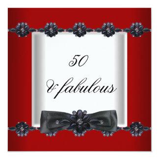 cinquantième Arc blanc noir rouge de bijoux de Carton D'invitation 13,33 Cm