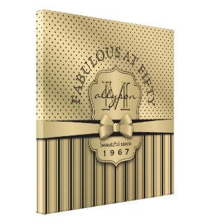 cinquantième Arc de rayures de point de polka d'or Toiles