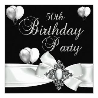 cinquantième Ballons argentés blancs de noir de Carton D'invitation 13,33 Cm