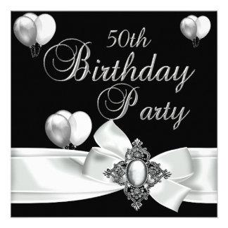 cinquantième Ballons argentés blancs de noir de fê Invitations