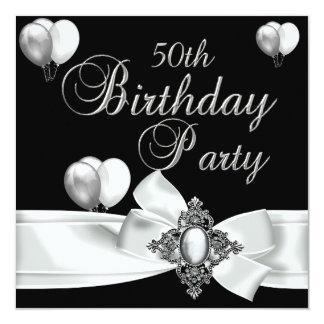 cinquantième Ballons argentés blancs de noir de Invitations