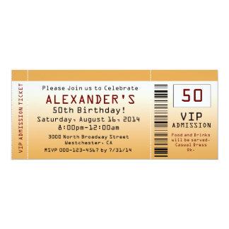cinquantième Billet d'or d'invitation de fête Carton D'invitation 10,16 Cm X 23,49 Cm