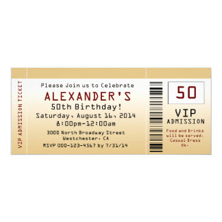 cinquantième Billet Goldtone d'invitation de fête Carton D'invitation 10,16 Cm X 23,49 Cm