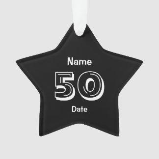 Cinquantième blanc personnalisé de noir de cadeau