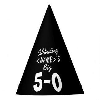 Cinquantième blanc personnalisé de noir de chapeaux de fètes
