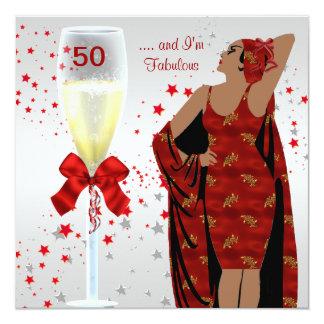 cinquantième Blanc rouge de rétro art déco de diva Carton D'invitation 13,33 Cm