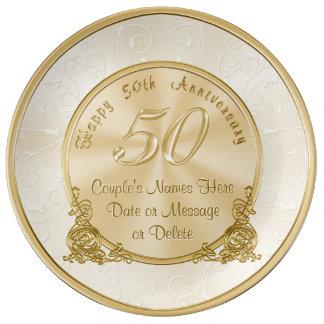 Cinquantième cadeaux personnalisables assiettes en porcelaine