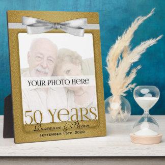 cinquantième cadre d'or de photo d'anniversaire de impression sur plaque