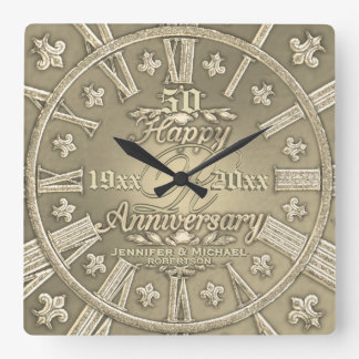 cinquantième Carré d'anniversaire de mariage d'or Horloge Carrée