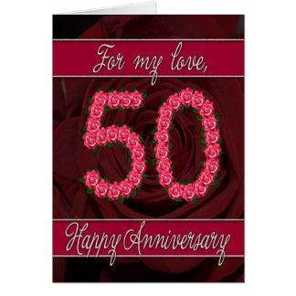 cinquantième carte d'anniversaire avec les roses