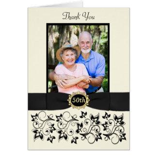 cinquantième Carte de remerciements floral de noir