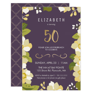 cinquantième Ciquantième floral de personnaliser Carton D'invitation 8,89 Cm X 12,70 Cm
