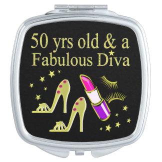 Cinquantième CONCEPTION de DIVA d'ANNIVERSAIRE Miroirs Compacts