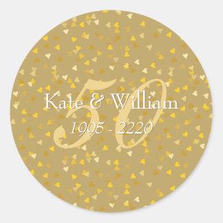 cinquantième Confettis de coeurs d'or Sticker Rond