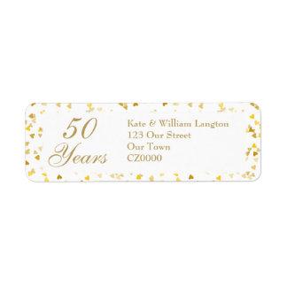 cinquantième Confettis d'or de coeurs Étiquette D'adresse Retour